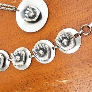 1970s Baseball Glove Bracelet and Necklace Set